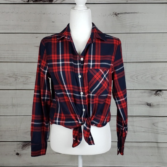 Old Navy Tops - NWT Old Navy • PM shirt flannel plaid red/blue